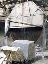 sawing granite blocks